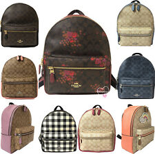Coach F32200 Medium Charlie Backpack Signature Floral Leather Canvas