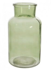 Large Funnel neck Glass Vase Smoked Glass in Green or Charcoal for Fresh Flowers