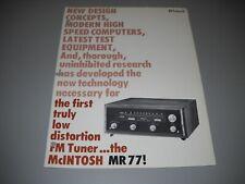 McIntosh MR-77, BROCHURE. FROM A McIntosh 3 RING BINDER