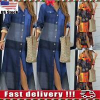 Women Ladies Print V Neck Loose Casual Holiday Long Sleeve Maxi Shirt Dresses