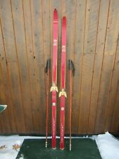 Old  Wooden Different Length  Long  Skis with Bamboo Poles
