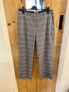 Boden Tweed By Moon Grey Checked Wool Trousers Size 14 R