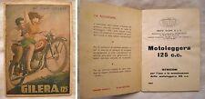 LIBRETTO USO E MANUTENZIONE GILERA 125 ANNO 1950 Originale Illustrato BOCCASILE