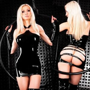 Sexy Black Faux Leather Lingerie Straps Roleplay BDSM Bodysuit Sleeves Thong