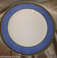 "VILLEROY & BOCH TIPO VIVA BLUE DINNER PLATE 10 1/2"" BLUE BAND GREEN RED LINES"