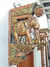 Elephant Handmade Wall Bracket Corbel Pair Wooden Vintage Sculpture Art Decor US