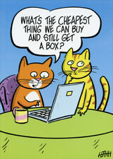 Cats Shopping Online Funny Birthday Card - Greeting Card by Oatmeal Studios