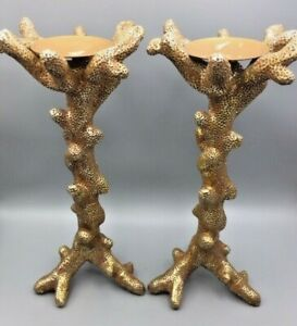 2 Z GALLERIE GOLD CORAL SHAPED CANDLEHOLDER CANDLE STICKS METAL BEACH