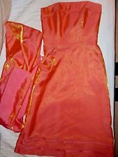 IRIDESCENT STRAPLESS DRESS & Shawl, Orange Gold Pink Formal Party BELSOIE, 8 NWT