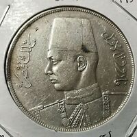 1937 EGYPT SILVER 20 PIASTRES CROWN COIN SCARCE ISSUE