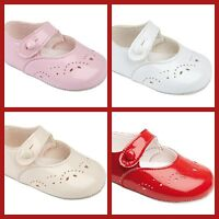 Baypods Baby Flower Girl Christening Party Pram Soft Sole Shoes 0-18 M UK Made