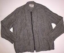 FLAX Basket Weave Blazer Jacket Top Topper Front Zip Pockets Medium M BlackWhite