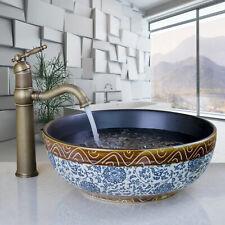 Ceramic Round Basin Bowl Vessel Sink Vanity Mixer Antique Brass Faucet Kit