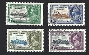 TURKS & CAICOS ISLANDS 1935 GEORGE V SILVER JUBILEE SET 4 STAMPS, SG.187-190 VGU