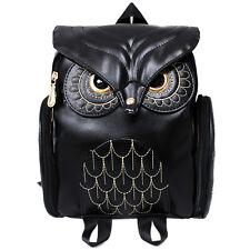Cute Women's Owl Leather Backpack Embossed Zipper School Bag Daypacks Bookbag