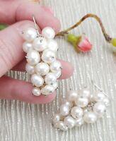 Sterling Silver & Freshwater Pearl Cluster Grape Drop Earrings