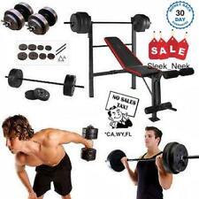 Weight Bench W Weights Set 140Lb Bar Press Barbell Dumbbell Set Home Gym Workout