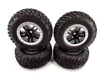 NEW TRAXXAS 4wd SLASH SET OF BLACK & SILVER 12mm WHEELS WITH SPEC TIRES 4x4 OBA