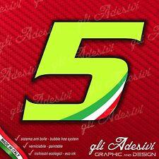 Adesivo Stickers NUMERO 5 moto auto cross gara Verde Acido Kawa & Tricolore