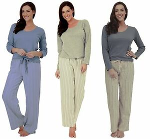 Ladies Cotton Rich Long Sleeve Pyjama Set with Striped Bottoms