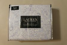 Ralph Lauren Full Sheet Set Paisley Blue 4pc Bed Cottage Modern Elegant Floral