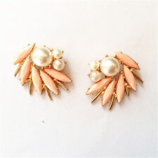 Pink Pearl White Retro Nn5 earrings Nails Studs Big Golden Spiral