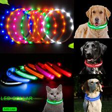 USB Rechargeable LED Dog Pet Collar Flashing Luminous Safety Night Light Up Xmas