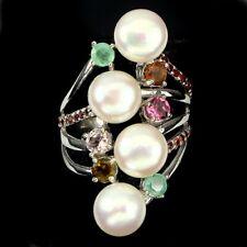 Großer Ring Turmalin Smaragd Granat Perle 925 Silber 585 Weißgold Gr. 56