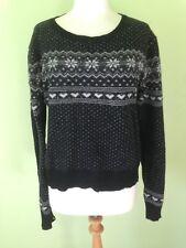Black White Fairisle Nordic Wool Mix Jumper M/L