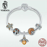 Voroco Queen of Bee 925 Solid Silver Bracelet With CZ Charm Snake Chain Jewelry