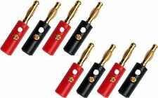 8 x Gold Plated Banana Plugs 4mm Speaker Tattoo Stackable 8PCS