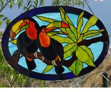 Stained Glass TOUCAN Suncatcher Tiffany technique Handmade exclusive Gift