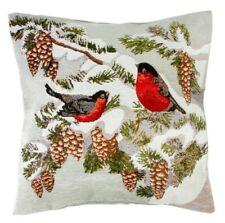 Decorative Pillow Embroidered Bullfinches Birds Christmas Cushion Winter Scene