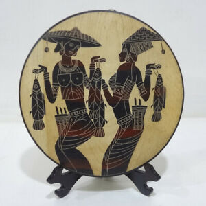 """Hand Line Carved & Painted ⌀12""""Wood Plate wall tabletop folk artdecor: Fisheries"""