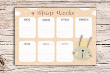 Meine Woche beige mit Hasen Motiv - Block A5 Wochenkalender Planer Kinder Wochen