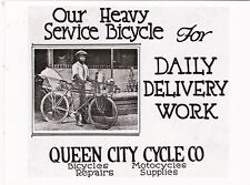 """*Postcard-AD-""""Queen City Cycle Co."""" ...Daily Delivery Work, etc... (B522)"""