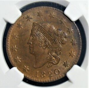 1820 1 Cent MS63 Brown NGC.