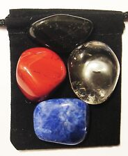 RADIATION RECOVERY Tumbled Crystal Healing Set = 4 Stones + Pouch + Card