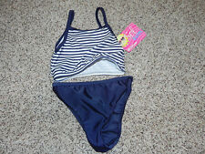 SOL Swim 2pc Swimsuit Navy White Girls 24M NWT