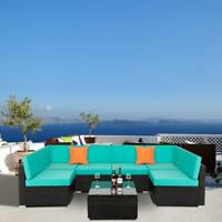 7 Pcs Outdoor Sofa Furniture Patio Rattan Wicker Sectional Sofa Set Green