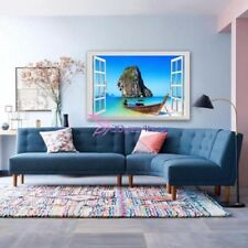 Seaside Boat View Window 3D Removable Vinyl Wall Sticker Wall Decal 1730