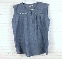 Mata Traders Women's Size L Chambray Short Sleeve Blouse Top Flaw