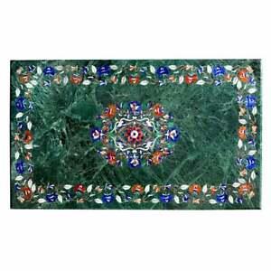 "48"" x 30"" Marble Coffee Table Top inlay semi precious stones Handmade Decor"