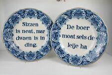 "Zwei große! Teller Fayence ""Koninklijke Tichelaar Makkum"" Sinnsprüche Wandteller"