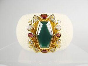 SENTI JEWELRY for Neiman Marcus Ostrich Leather & Genuine Gems Cuff Bracelet