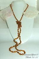 Antique Vintage Art Deco Czech Amber Glass Long Strand 54''Flapper/Necklace