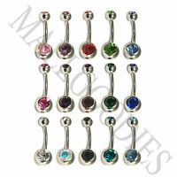 V001 Steel Belly Naval Ring Piercing Curved Bar Barbell Crystal Double Gem Jewel