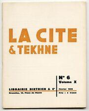 1932 Bruxelles LA CITE & TEKNE Functional INTERNATIONAL Style ARCHITECTURE Journ