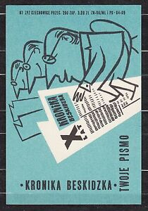 POLAND 1967 Matchbox Label - Cat.G#187 X years of Chronicle Beskid, Your journal