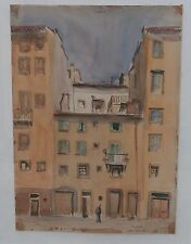 "Old Street in Florence-Watercolor Painting -14 x10"" -1952- Rodolfo Marma"